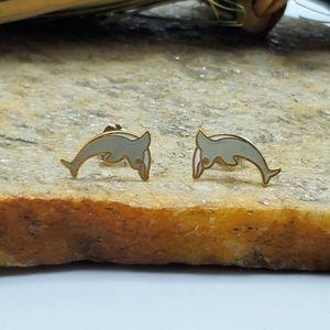 Vtg Cloisonne Dolphin Earrings